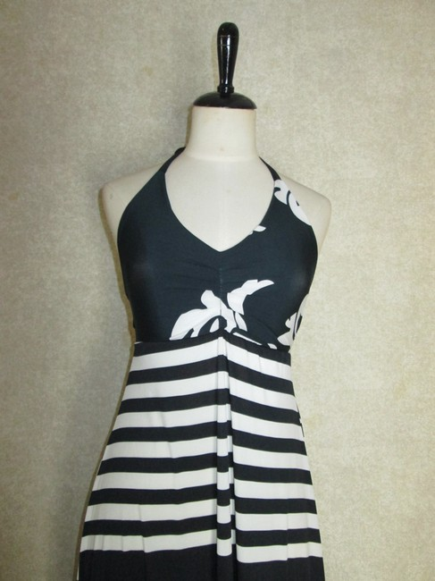 Black/White Maxi Dress by Lisa Nieves Stretchy Striped Maxi Halter