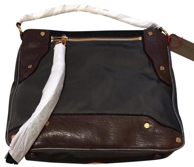 Item - Kit Steel Bedford with Mixed Leathers Leather/Nylon Hobo Bag