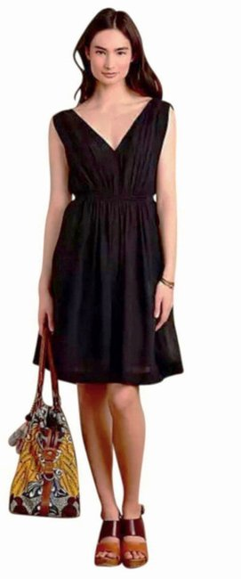 e65e93e4a129 Anthropologie short dress Black Classic Crepe Fabric Lined Tie Detail Waist  Fit + Flare on Tradesy