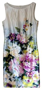 Ann Taylor Vibrant Florals Pleated Neckline Silk/Cotton Vintage Dress