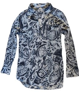 Coldwater Creek Top Navy and white print
