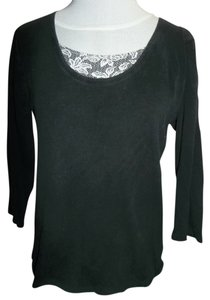 White Stag 3/4 Length Sleeve Cotton Lace Look Accent Pullover Tunic