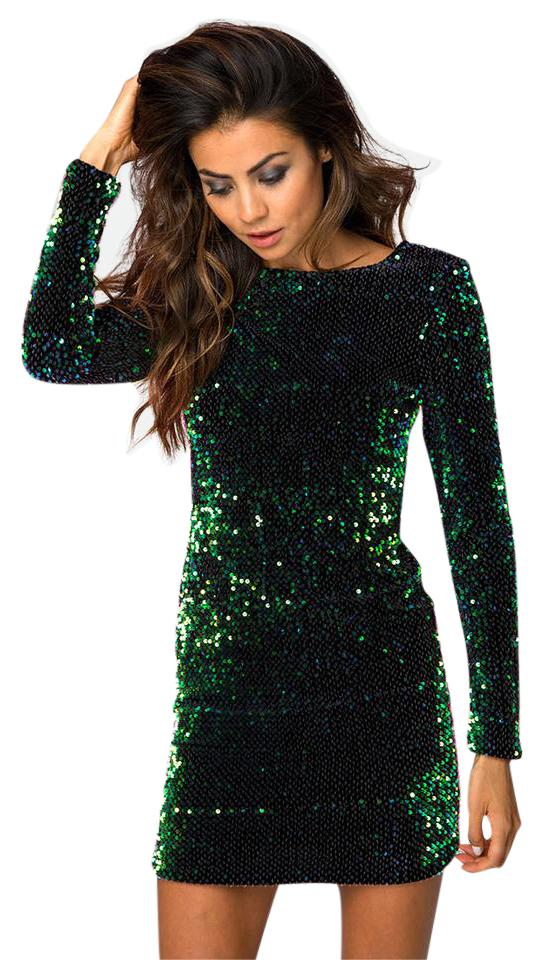 9a58f9987a5 Motel Rocks Green Deluxe Gabby Sequin Short Night Out Dress Size 0 ...