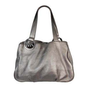 54193b65f599 Michael Kors Fulton Mk Metallic East West Ns Tote in Metallic Silver. Michael  Kors. Fulton Large Ew Leather Ns Metallic Silver Tote Bag