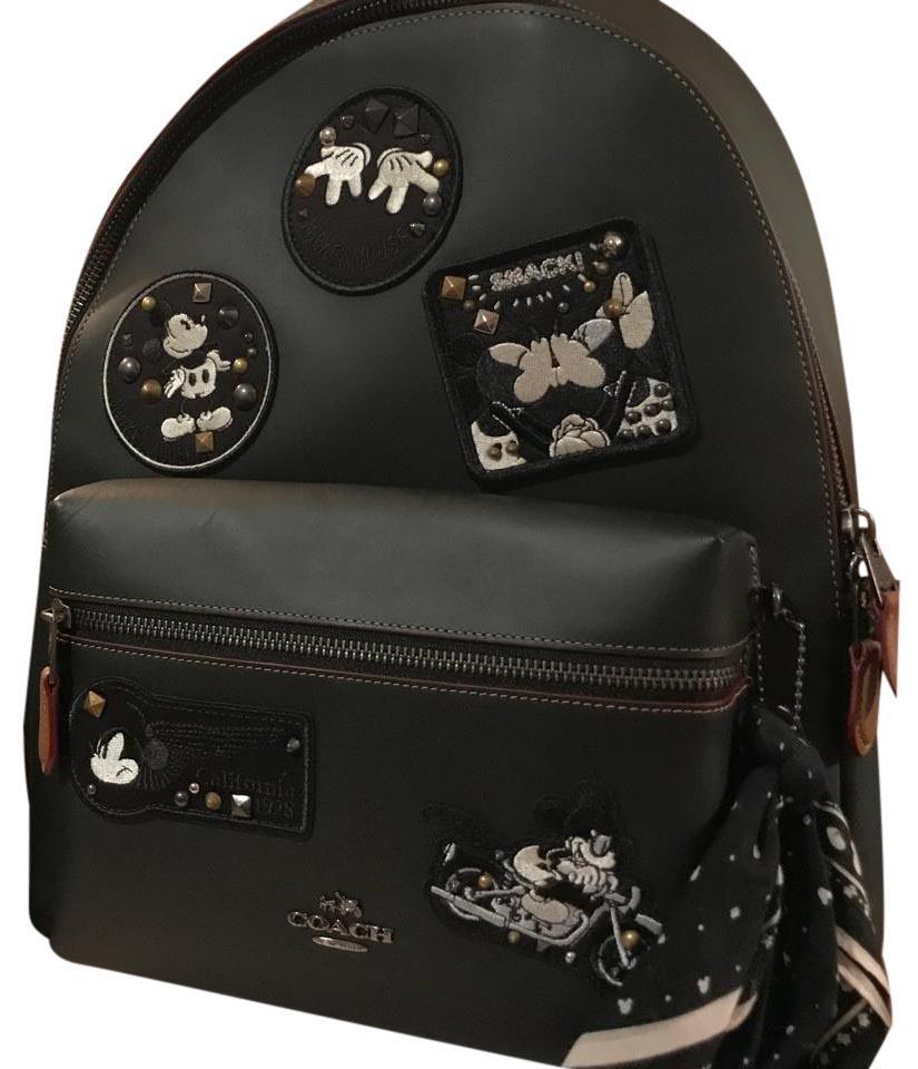 5ebddb686caf Coach Mickey Mouse Patches Black Leather Backpack - Tradesy