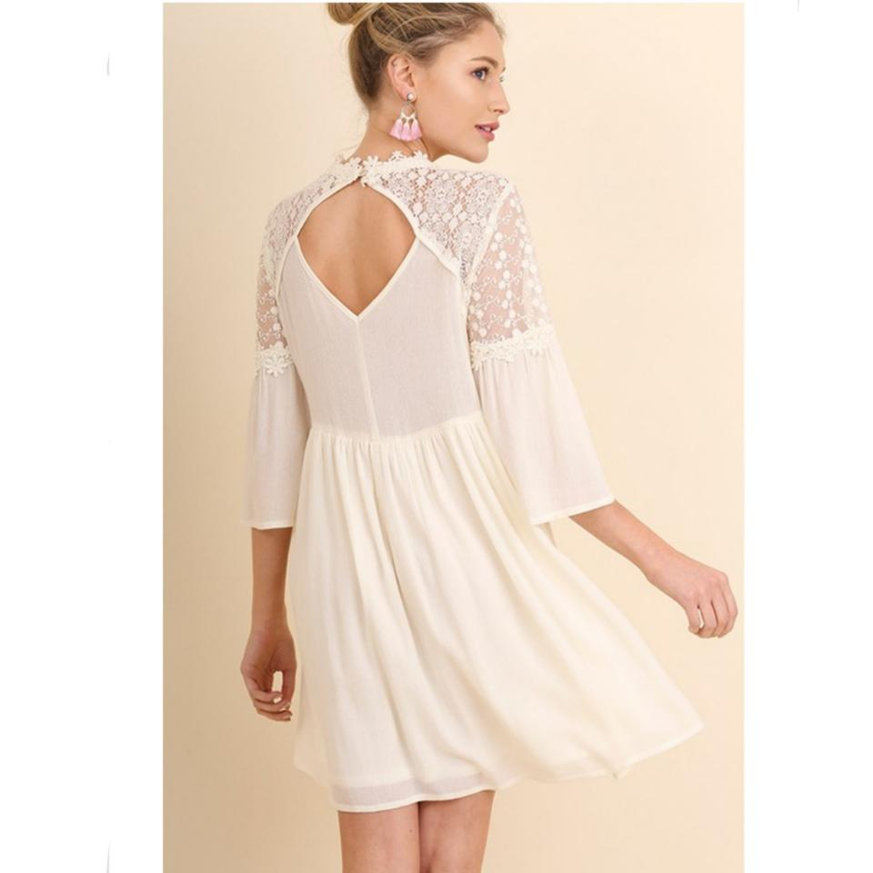 Umgee ivory crochet lace bell sleeve new party wedding for Lace wedding reception dress