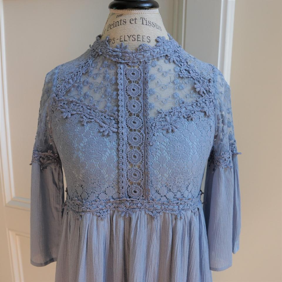 Umgee Dusty Blue Crochet Lace Bell Sleeve New Party Wedding Grad ...