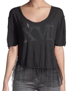 Free People Distressed Rips Tattered Torn Tulle Hem High Low Hem Graphic Print T Shirt Black