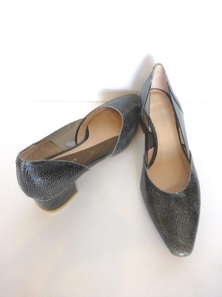 8e8ae89c2620 Audley Black Crackled Leather Design Clear Sides Euro 38.5 Pumps Size US  8.5 Regular (M