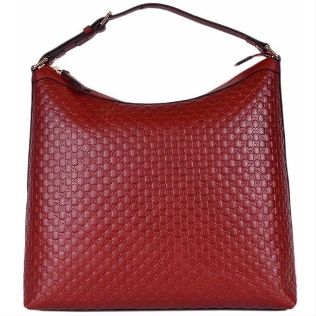 Gucci Gg Leather Red Hobo Bag Gucci Gg Leather Red Hobo Bag Image 1