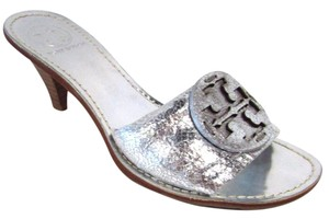 Tory Burch Leather Metallic Open Toe Silver Mules