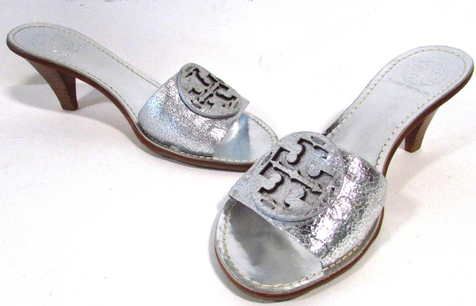afdec2a55365 Tory Burch Silver Aerin Metallic Leather Mules Slides Size US 7.5 ...