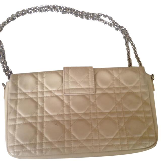 Item - Quilted Cream Lambskin Leather Cross Body Bag