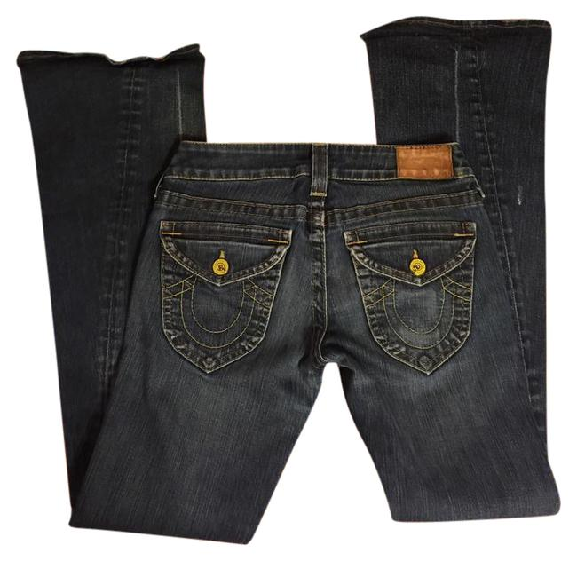 """Item - Distressed Wash Blue Denim Jeans-33"""" Inseam-sold """"As Is"""" Boot Cut Jeans Size 27 (4, S)"""