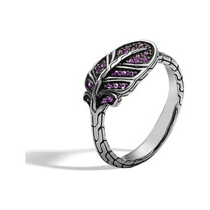 John Hardy Classic Chain Feather Silver Lava Ring w/ Mixed Pink Sapphire