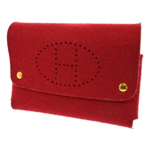 Hermès HERMES H Logos Trump Case Multi Pouch Felt Red Coin Purse Men clutch