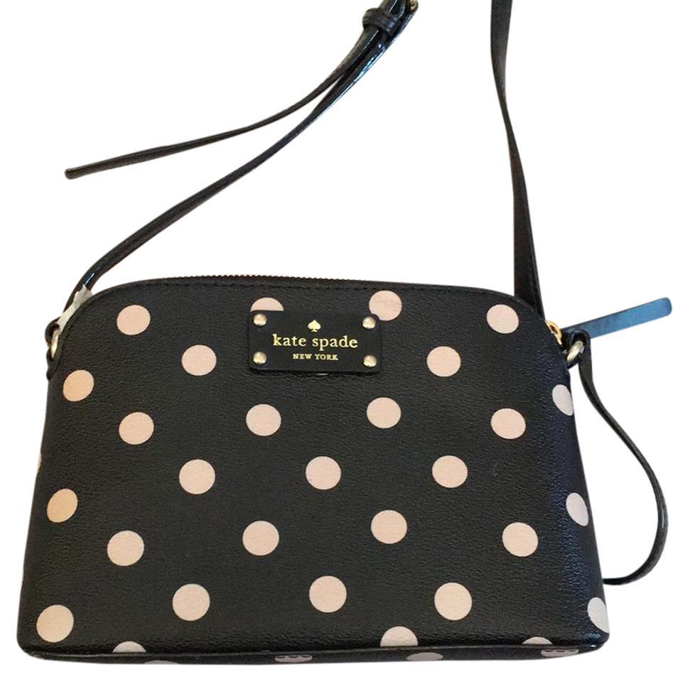 Kate spade hanna black polka dot leather cross body bag tradesy kate spade cross body bag junglespirit Image collections