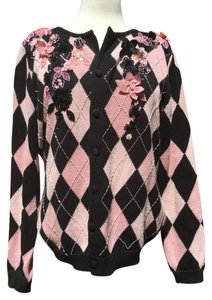 Victor Costa Embellished Longsleeve Button Closure Ramie Cotton Sweater