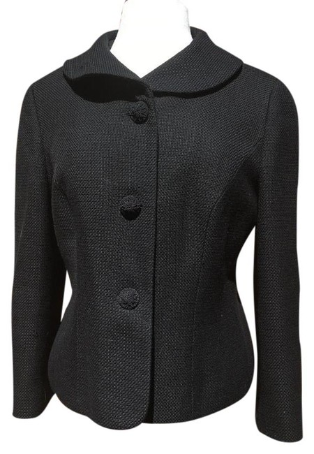 Item - Black Tweed Round Collar Long Sleeve Embroidered Buttons Blazer Size 12 (L)