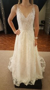 Sottero and Midgley Ligth Champagne/Pewter Accents Satin/Tulle Cecilia-7st389 Modern Wedding Dress Size 10 (M)