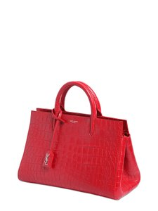 Saint Laurent Ysl Cabas Gauche Medium Satchel in Red