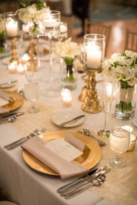 "Gold 52 Pcs X 13"" Acrylic Reception Dinner Tableware"