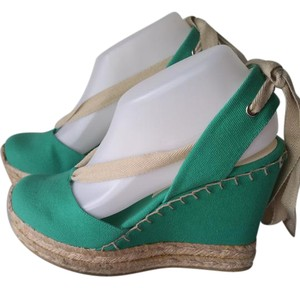 Ralph Lauren Collection Espadrilles Tie Tie Up Canvas Green Wedges