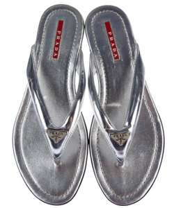 Prada Hardware Logo Metallic Embellished Leather Silver Sandals