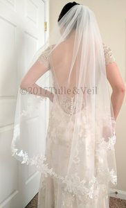 Ivory Medium Fingertip Length - Freda Bridal Veil