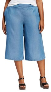 Ava & Viv Culottes Wide Leg Gaucho Chambray Linen Capris Light Denim
