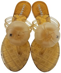 Chanel Camellia Jelly Interlocking Cc Glitter Hardware Beige, Silver Sandals
