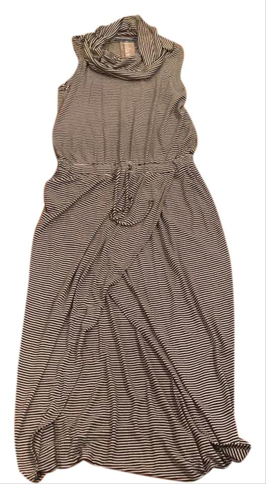 d6bff38ecd Dolan Black and White Anthropologie Striped Cowl Neck Casual Maxi Dress