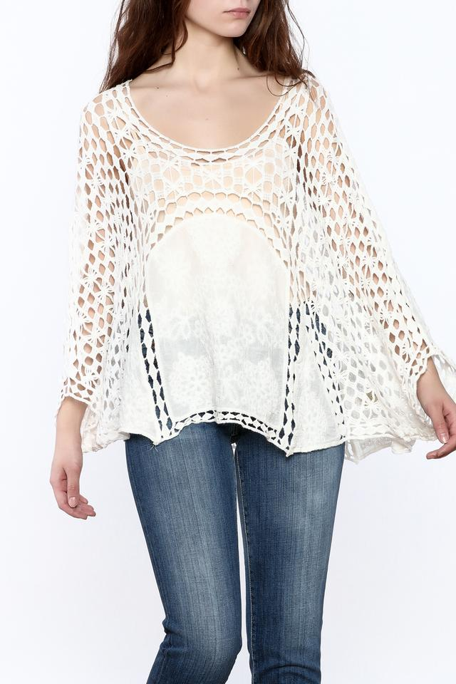 White Crochet Popover Top Ponchocape Size Os One Size Tradesy