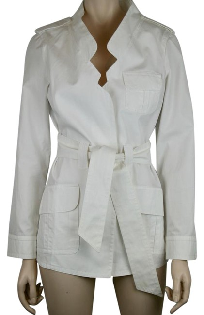 Item - White Belt Tie Cotton Trench Coat with Self Jacket Size 8 (M)