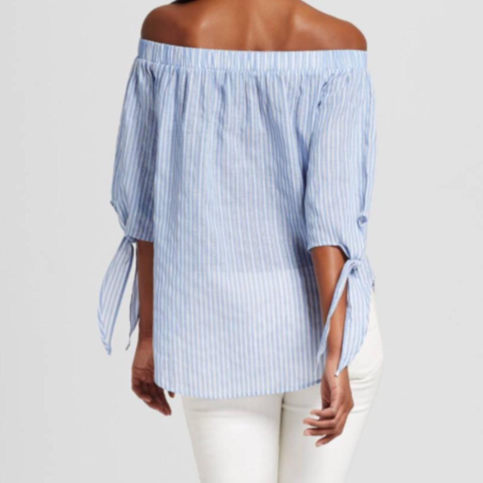 de301eecbb2290 Mossimo Supply Co. Blue Striped Off The Shoulder Woven Blouse Size 8 ...