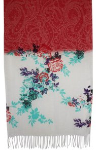 Etro NEW Etro Long Large Linen Paisley Scarf Red White Purple Made in Italy