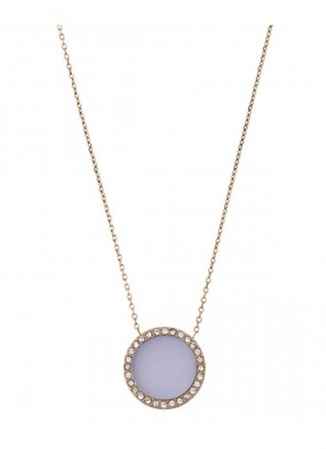 """Item - Purple/Rose Gold Mkj5417791 .5"""" Disc Chain Necklace"""