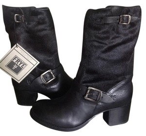 Frye Vera Short Leather Ankle Black/Calfhair Boots