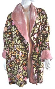 Other Embroidered Reversable Boho Wool Pink Velvet Floral Multi color Jacket