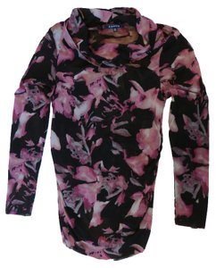 Chaus Top Black and pink print