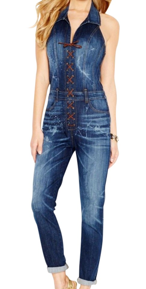 55b95f783966 Guess Denim Medium Wash Skinny Jumpsuit Straight Leg Jeans Size 25 ...