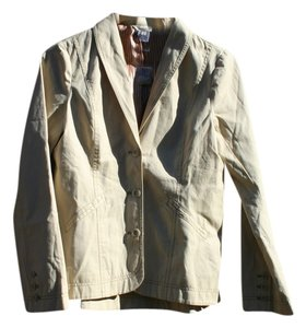 Sundance Business Casual Blazer Striped Liner Biege Button Casual Women Tan Jacket