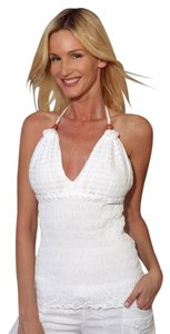 Lirome Embroidered Summer Tube Chic White Halter Top