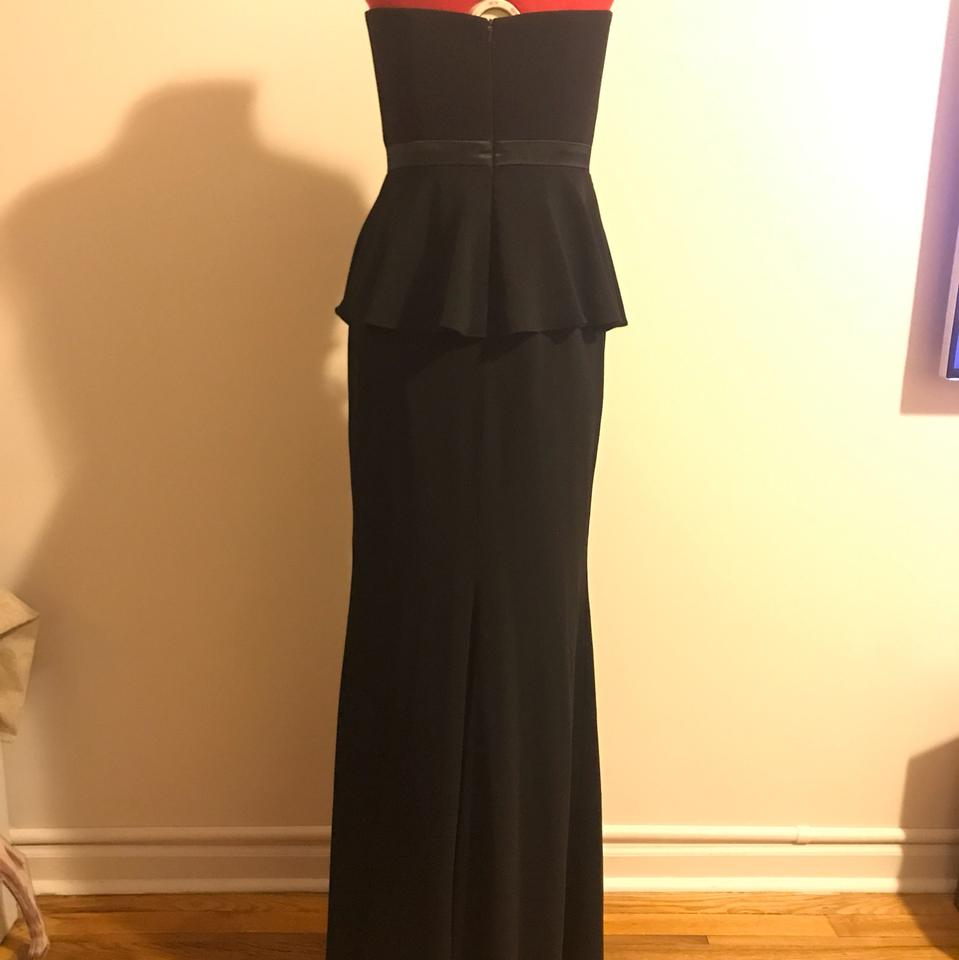Badgley Mischka Black Rosalind Peplum Gown Long Formal Dress Size 2 ...