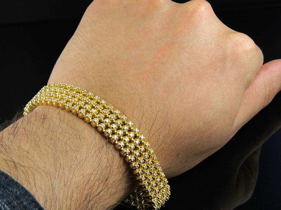 3ab41fda03d9b Jewelry Unlimited 10k Yellow Gold Mens 4 Row Solid Prong Set Real Diamond  5.30ct 8 Inch Bracelet 71% off retail