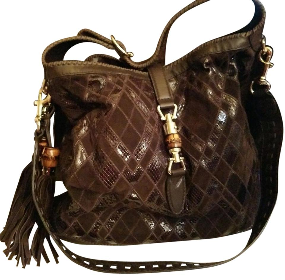53d83a89d5b Gucci Jackie Exotic New 218491 Ch12g 2145 Chocolate Brown Ayers Snakeskin  Leather Hobo Bag
