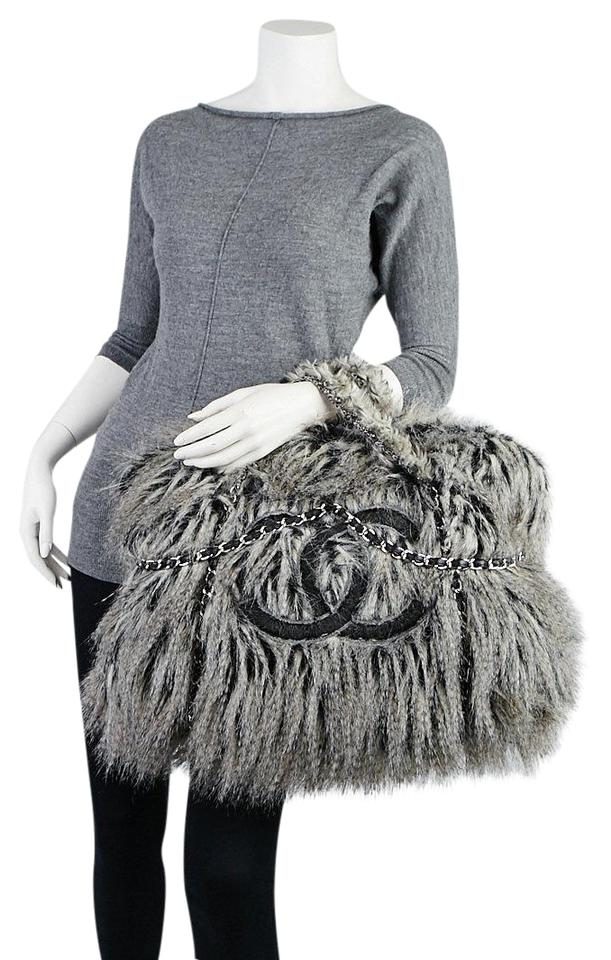 5fc0ff144b05 Chanel Extra Large Fantasy Arctic Fur Tote219402 Grey Leather ...