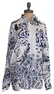 Georg Roth Los Angeles Floral Button Cotton Button Down Shirt WHITE NAVY