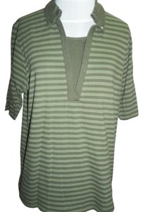 Other North Crest Short Sleeve Button Down Collar Layer Look Casusual Wear Knit T Shirt Green Stripe