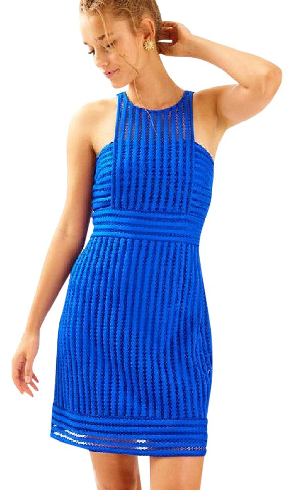 Lilly Pulitzer Blue New Rae Shift Xl Short Cocktail Dress Size 18